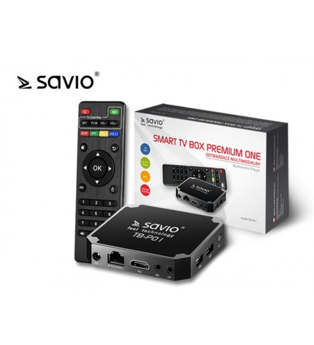 SAVIO SMART TV BOX PREMIUM ONE, 2/16 GB, ANDROID 7.1, HDMI V2.0, 4K, USB, WIFI, SD TB-P01
